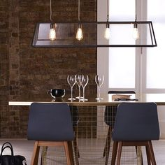 Handmade in the heart of England, the Original BTC/Davey lighting Diner linear pendant features a superbly forged brass frame, merging traditional style with exposed bulb lighting. A tapering glass box displays the four interior light sources, sus. Furniture Design Modern, Original Btc Lighting, Lighting Design, Davey Lighting, Exposed Bulb Lighting, Interior Lighting, Interior Deluxe, Linear Pendant Lighting, Furniture Design