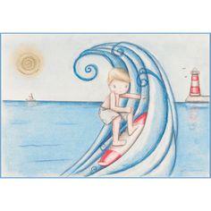 Decoración infantil Il Mondo di Alex, Papel mural efecto pintado a mano, SURF... personalizado con nombre o frase y a medida.