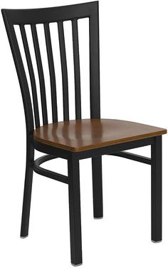 HERCULES Series Black School House Back Metal Restaurant Chair with Cherry Wood Seat XU-DG6Q4BSCH-CHYW-GG by Flash Furniture