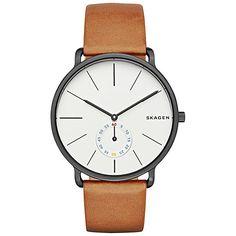Buy Skagen SKW6216 Men's Hagen Leather Strap Watch, Tan/White Online at johnlewis.com