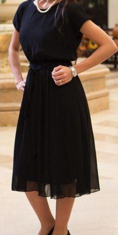 Black Chiffon Midi Dress