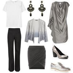 Clear Winter Neutrals: Graphite and silver. Use shimmering textures like satin, metal, patent leather, and sequins.