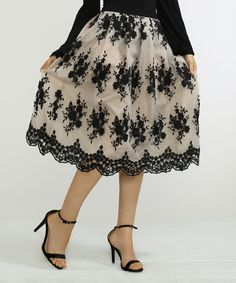 Look at this #zulilyfind! Ivory & Black Floral Layered Midi Skirt by Jealous Tomato #zulilyfinds