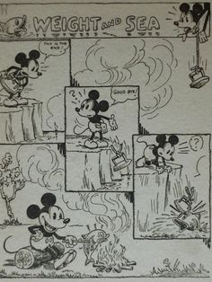 Original 1933 Mickey Mouse Comic Strip  Matted by PrimrosePrints, £15.00 Matted Cartoon Print - Suicide - Fishing - Fish Supper - Angling - Vintage - Walt Disney - Camping