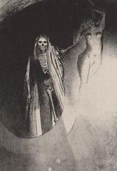 Odilon Redon - La Mort - C'est moi qui te rends sérieuse; enlaçons-nous.