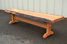 Live Edge Cherry Bench with Trestle Base