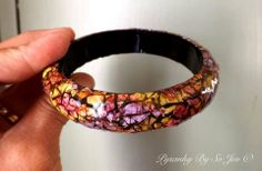 Pink, Green and Purple Bracelet Eggshell Mosaic Jewelry by So Jeo