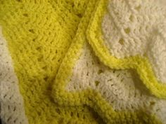 Yellow and White Baby Blanket Ripple Afghan - Handmade Crochet | eBay