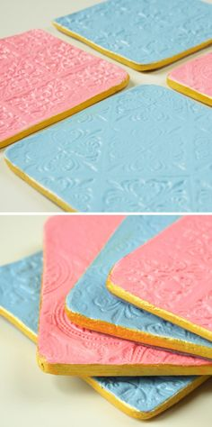 Make your own Stamped Clay Coasters using air dry clay.