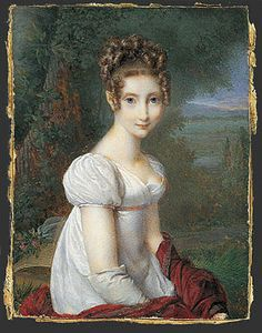 Nicolas Jacques, A young woman wearing gloves in a park, 1813. [Very shallow crosswise part. Short center part, hair very smooth to the temples, then a bunch of curls/ringlets. Back hair very high in a thick bunch of medium-short ringlet.]