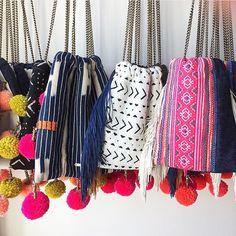 GAIA Pom Pom Bags // www.gaiaforwomen.com   #ethicalfashion #gaiagoodies #ethicalfashion #christmas #stockingstuffers #christmasgifts #girlboss #textiles #fashionforgood