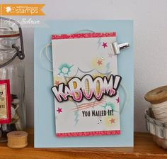 February 2015 NEW RELEASE! Card by Anya Schrier featuring Kaboom clear stamp set and coordinating Kaboom Die.    Shop here - http://www.waltzingmousestamps.com/     Waltzingmouse Stamps Blog - http://waltzingmouse.blogspot.ie/ #wms #waltzingmouse #cardmaking