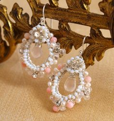 Garland Earrings | Delicate Silver Lace Hoops with Rose Quartz, Coral, Pearls by Edera Jewelry