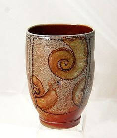 SALT FIRED YUNOMI CUP    A beautiful salt fired Yunomi cup by Cathi Jefferson of Vancouver Island.