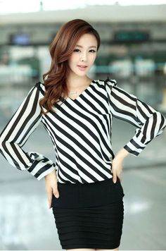 e03f69d558098 New Fashion Women Blouse Striped Long Sleeve V-Neck Casual Shirt Tops Black    White