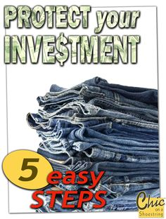 FIVE easy steps to keep your denim looking like new for years...NEXT I'll teach you how to identify which jeans are most flattering to YOUR body-type. --> Click and Sign-up