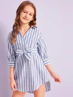 To find out about the Girls Striped Dip Hem Belted Shirt Dress at SHEIN, part of our latest Girls Dresses ready to shop online today! Preteen Girls Fashion, Girls Fashion Clothes, Teenage Girl Outfits, Dresses Kids Girl, Kids Outfits Girls, Girl Fashion, Fashion Outfits, Cute Comfy Outfits, Cute Girl Outfits