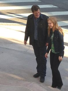 castle season 7 episode 2 - behind the scenes with nathan fillion and molly quinn