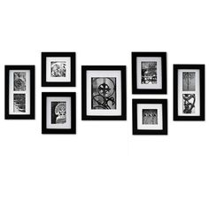 Nielsen Bainbridge Gallery 7 Piece Portrait Picture Frame Set $58.99 Great price for 7 frames! I could use these in LR, on black shelves with lips above the bookshelves that flank my entertainment armoire. I can envision buying multiple sets and printing out seasonal art to frame, then switching up to match seasonal accents.