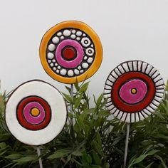 Items similar to set of 3 funky garden art - abstract garden stakes - ceramic garden decor - choose your color - love bubbles MEDIUM on Etsy