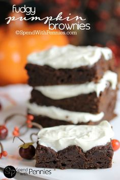 Fudgy Pumpkin Brownies with 2 Ingredients!  These are super delicious and easy to make!