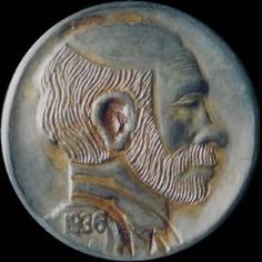 Owen Covert - Old 'Bo' - Coin: 1936-P Ch F Buffalo, Classic Style, Coins, Auction, Carving, Rooms, Wood Carvings, Sculptures, Printmaking