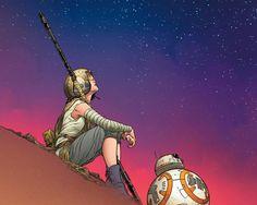 Marvel Unveils 'Star Wars: The Force Awakens' Comic Art Star Wars Fan Art, Rey Star Wars, Billionaire Boys Club, Comic Kunst, Comic Art, Comic Book, Nighttime Sky, Leadership, Pinturas Disney