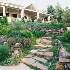 Stone Stair Walkway  For interest, integrate a stone path into stairs. The shapes of the flagstone are a beautiful addition to your landscape, allowing the earthy appeal to shine through. Here, the pathway blends beautifully with the low stone walls that flank the path. Eventually leading up to the main house, the walkway provides a route to stroll the yard and take in the scenery.