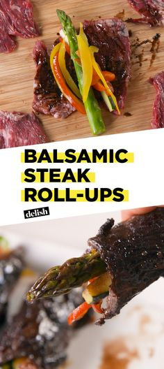 Balsamic Steak Roll-Ups are the low-carb dinner of summer. Get the recipe at Delish.com. #lowcarb #steak #rollup #meat #balsamic #skirtsteak #peppers #vegetable #delish #easyrecipe #recipe