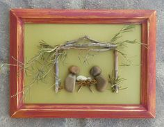 """Pebble Art NATIVITY (Mary, Joseph and Baby Jesus) in an 8x10 """"open"""" frame by CrawfordBunch on Etsy"""