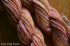 Hand Spun Mohair Yarn Rainbow Sherbert by IronOakFarm on Etsy