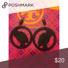 Afrocentric Woman Black Earrings These earring are hand painted, faux wood, and very light weight.❤️ ‼️PRICE FIRM UNLESS BUNDLED ‼️ R.E.A.L Jewelry Jewelry Earrings