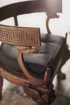 The Greek Key design has its origins in ancient Greece and is their most important symbol. The Greek Key is also called Meandros of the H. Greek Design, Key Design, Prop Design, Antique Chairs, Antique Furniture, Egyptian Furniture, Greek Decor, Greek House, Greek Art