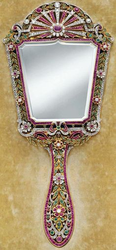 Miroir à Main - Or, Platine, Diamants, Rubis et Emeraudes