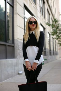 crop sweater over collared blouse
