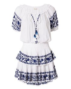 LOVESHACKFANCY Poppy Embroidery Dress: Keep your look playful with floral embroidery at the short sleeves, placket and layered ruffled skirt. Elasticated waistline. tassel ties at split neckline. Lined. In white. Fabric: 100% cotton Made in India.     Model Measurements: Height 5'8.5 ; Waist ...