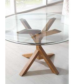 mesa redonda de diseo moderno copac cristal madera natural