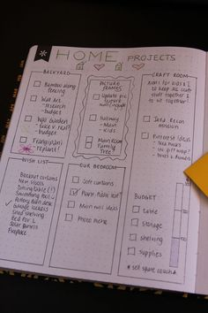 Bullet Journal Page Ideas - Home Projects