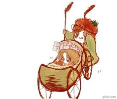 Little Lovino's pushing little Feliciano in his pram, when the baby starts crying. Watch the GIF to see what happens next! - Art by あ.め.の.じ (http://www.pixiv.net/member_illust.php?mode=big&illust_id=8510720 ), animated version found via losthitsu.tumblr.com