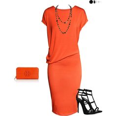 Simple orange and black: Pretty for meeting a client for drinks.