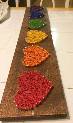 Rainbow hearts string art DString