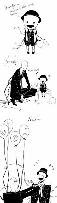 Splendorman, Slenderman, funny, young, childhood, different ages, time lapse, balloons, text, comic, love; Creepypasta