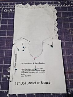 Here's a super easy doll top to make and if you have your own lace edge hankie, it won't even cost you a dime. Let's begin: -Fir...