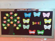 DEĞERLER EĞİTİMİ PANOSU YENİLENDİ Classroom Decor, Preschool, Teacher, Education, Creative, Kids, Google, Decorations, Classroom