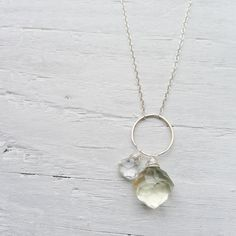 Lemon Drop Necklace  Geometric Charm Necklace by CamileeDesigns,