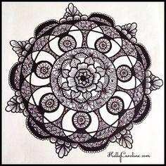 Mandala henna tattoo design I drew today - floral with swirls - henna michigan #henna #hennas #hennaart #tattoo #tattoos #hennamichigan #michigan #michiganart #kellycaroline #design #draw #drawing #blackandwhite #flower #flowers #floral #shading #shaded #sketch #sketchbook #annarbor #art #artist #paper #ink #india #mandala #swirls #symmetry