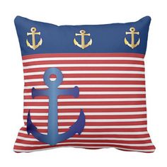 Chic Red White Stripes Pattern Blue Anchor. Chic Red White Stripes Pattern Blue Anchor. Unique, trendy, decorative and pretty throw pillow. Beautiful dark blue anchor on red and white stripes pattern, and gold colored anchors on a blue background. For the sailor, boater, water sport, boating, sailing, ocean or sea lover. Original cool pillow for the master or children's bedroom, nursery, living or family room, patio, deck, cabin, boat, RV, beach house, cottage, river or lake vacation home.