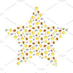 Star made from little stars on white. Objects. $4.00
