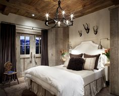 Modern cabin bedroom, soft and rustic