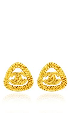 Chanel Gold CC Rope Triangle Earring by What Goes Around Comes Around for Preorder on Moda Operandi